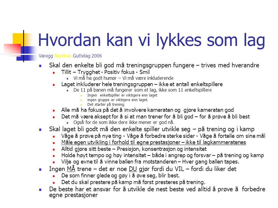 Varegg Nordnes Guttelag 2006 Hvordan kan vi lykkes som lag  Skal den enkelte bli god må treningsgruppen fungere – trives med hverandre  Tillit – Try