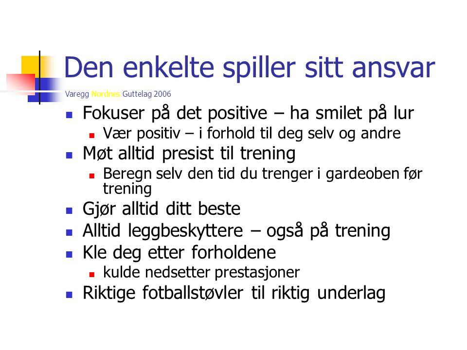 Varegg Nordnes Guttelag 2006 Den enkelte spiller sitt ansvar  Fokuser på det positive – ha smilet på lur  Vær positiv – i forhold til deg selv og an