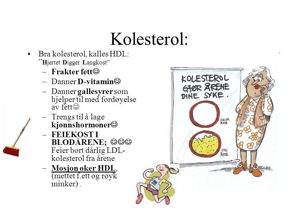 """Kolesterol: •Bra kolesterol, kalles HDL: """" Hjertet Digger Langkost"""" –Frakter fett  –Danner D-vitamin  –Danner gallesyrer som hjelper til med fordøye"""