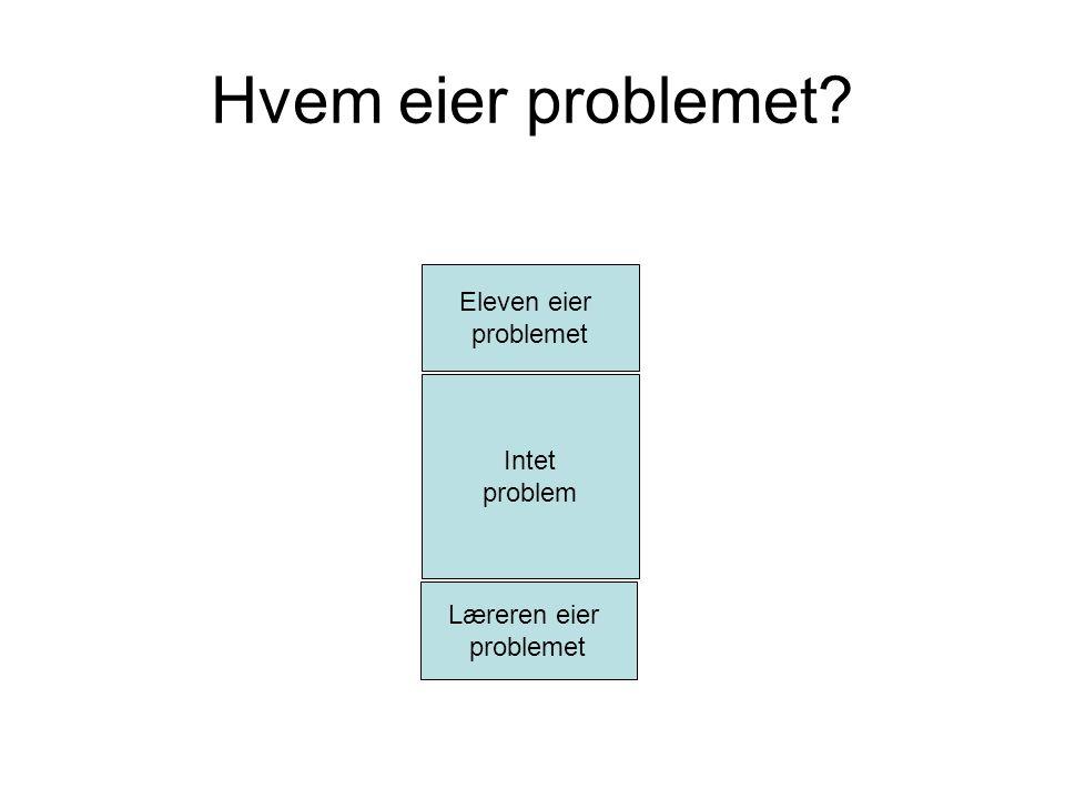 Hvem eier problemet? Læreren eier problemet Eleven eier problemet Intet problem