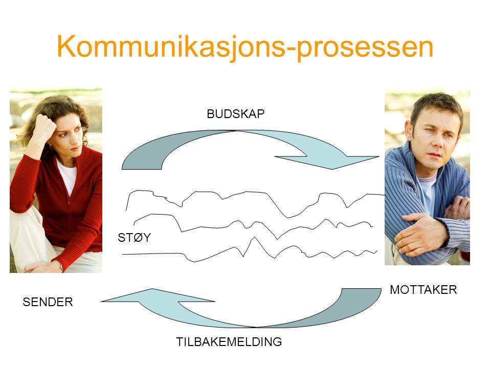 Kommunikasjons-prosessen BUDSKAP TILBAKEMELDING STØY SENDER MOTTAKER