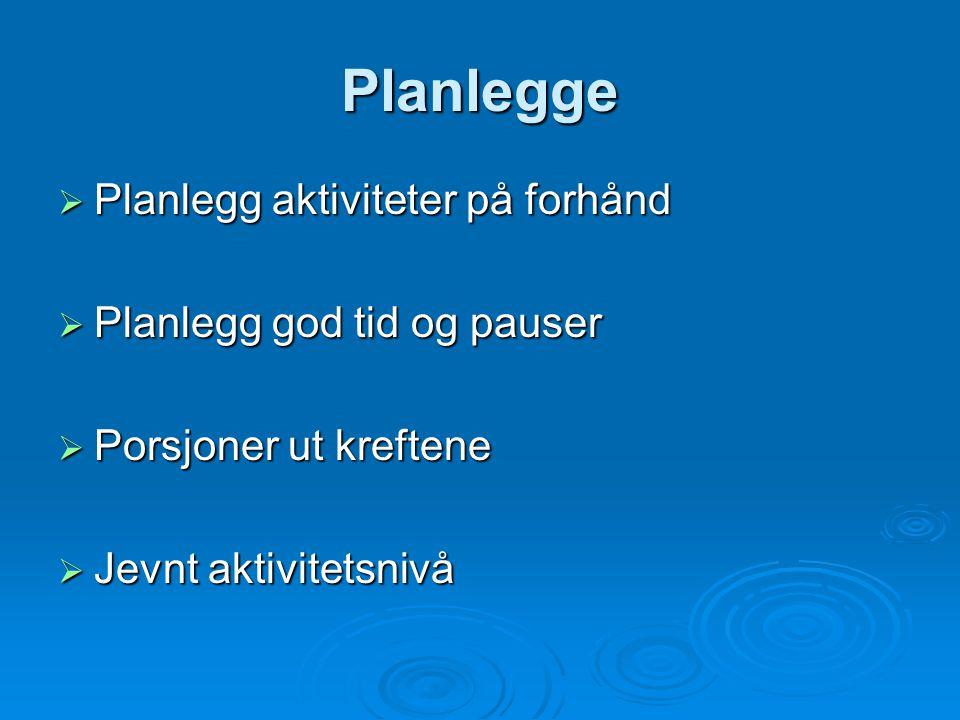 Planlegge  Planlegg aktiviteter på forhånd  Planlegg god tid og pauser  Porsjoner ut kreftene  Jevnt aktivitetsnivå