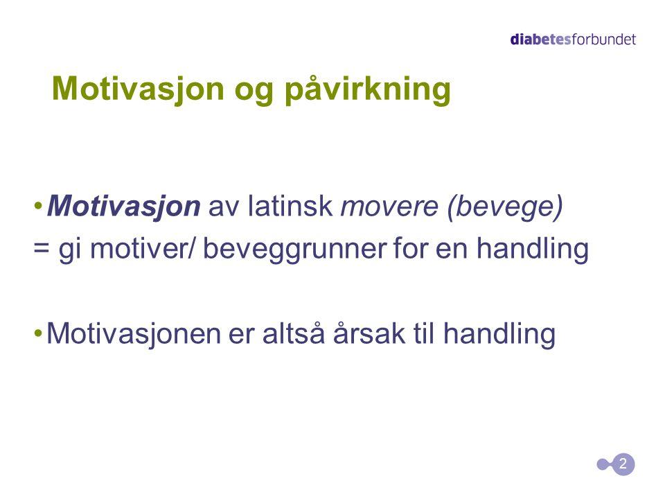 Motivasjon og påvirkning •Motivasjon av latinsk movere (bevege) = gi motiver/ beveggrunner for en handling •Motivasjonen er altså årsak til handling 2