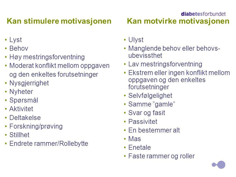4 Kan stimulere motivasjonen Kan motvirke motivasjonen •Lyst •Behov •Høy mestringsforventning •Moderat konflikt mellom oppgaven og den enkeltes foruts