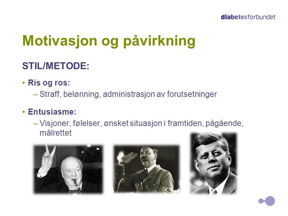 5 Motivasjon og påvirkning STIL/METODE: •Ris og ros: –Straff, belønning, administrasjon av forutsetninger •Entusiasme: –Visjoner, følelser, ønsket sit