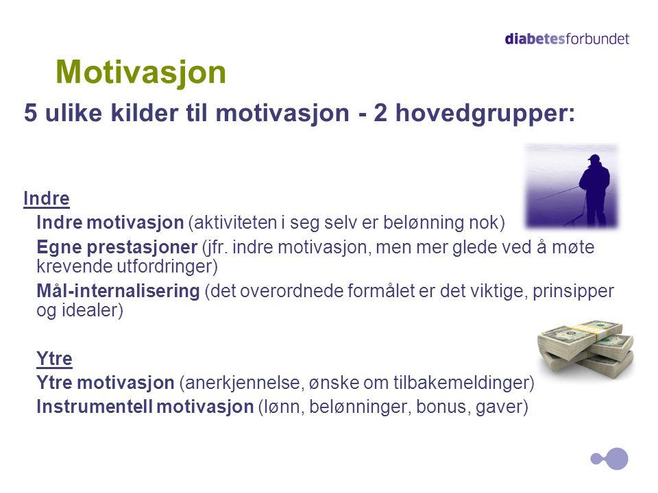 7 Motivasjon 5 ulike kilder til motivasjon - 2 hovedgrupper: Indre Indre motivasjon (aktiviteten i seg selv er belønning nok) Egne prestasjoner (jfr.