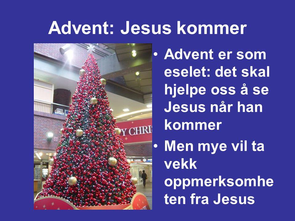 Advent: Jesus kommer •Advent er som eselet: det skal hjelpe oss å se Jesus når han kommer •Men mye vil ta vekk oppmerksomhe ten fra Jesus