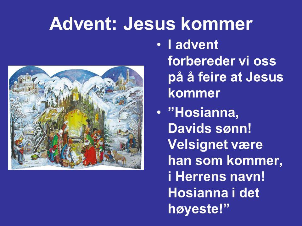 """Advent: Jesus kommer •I advent forbereder vi oss på å feire at Jesus kommer •""""Hosianna, Davids sønn! Velsignet være han som kommer, i Herrens navn! Ho"""