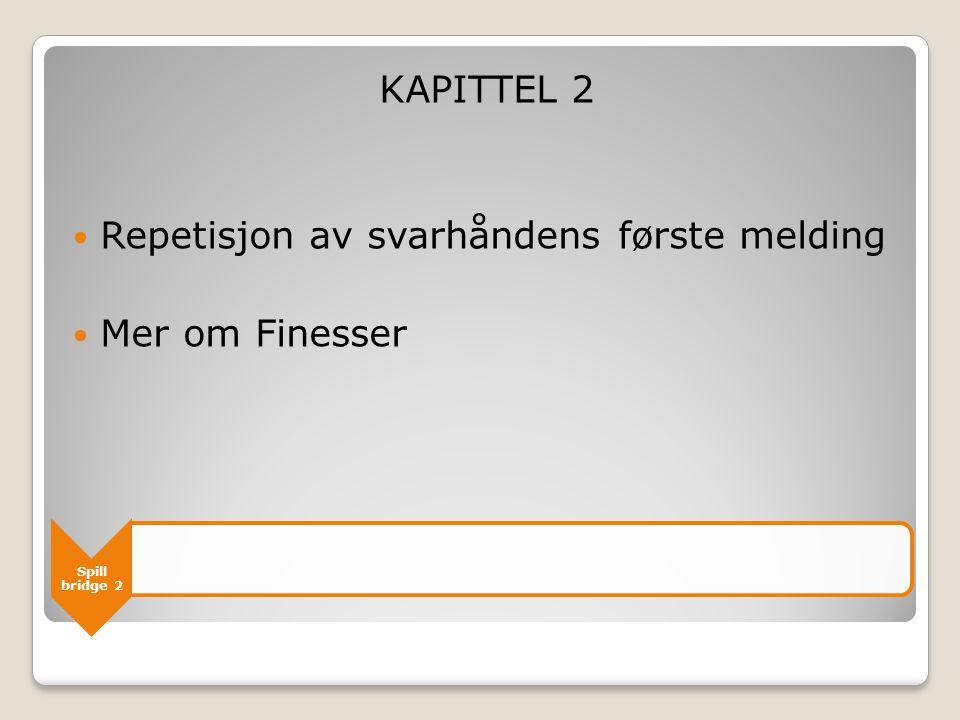 Spill bridge 2 KAPITTEL 2  Repetisjon av svarhåndens første melding  Mer om Finesser