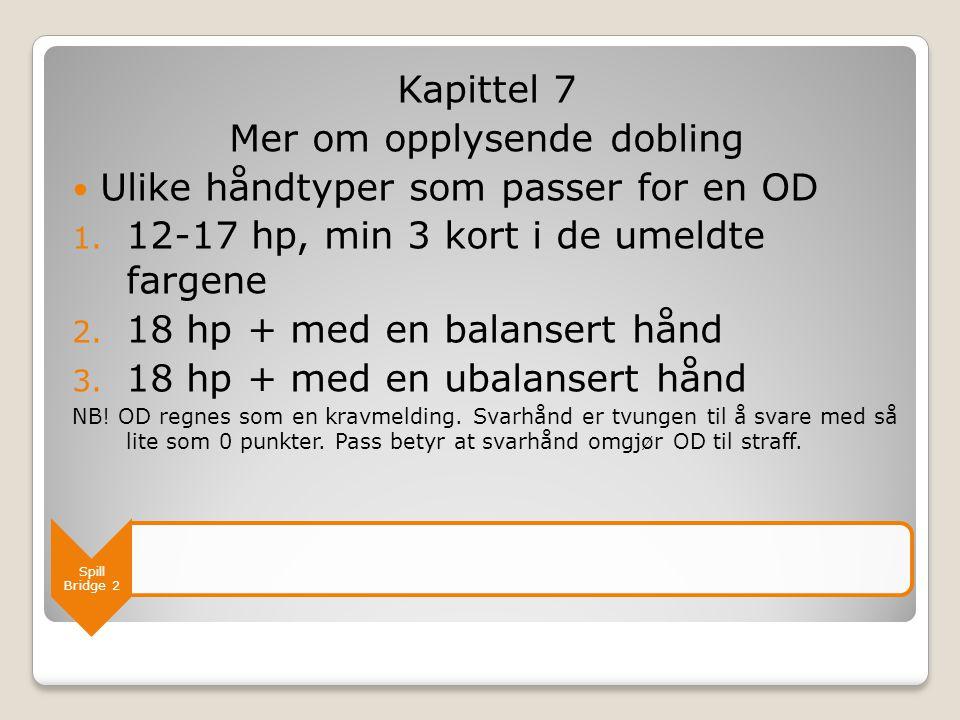 Spill Bridge 2 Kapittel 7 Mer om opplysende dobling  Ulike håndtyper som passer for en OD 1. 12-17 hp, min 3 kort i de umeldte fargene 2. 18 hp + med