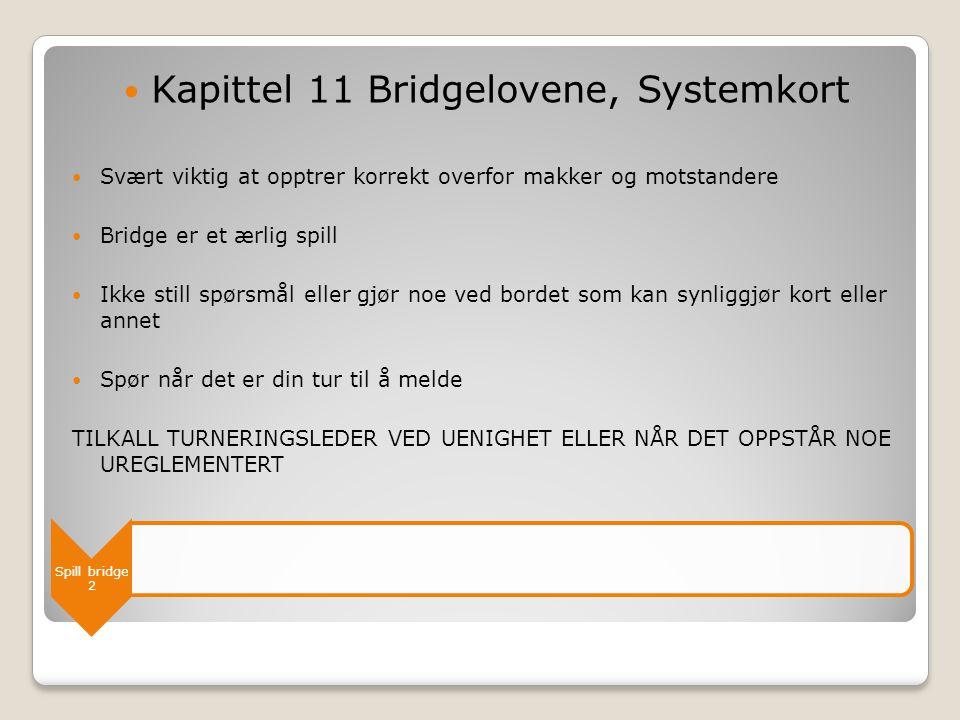 Spill bridge 2  Kapittel 11 Bridgelovene, Systemkort  Svært viktig at opptrer korrekt overfor makker og motstandere  Bridge er et ærlig spill  Ikk