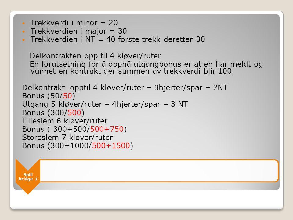 Spill bridge 2  Trekkverdi i minor = 20  Trekkverdien i major = 30  Trekkverdien i NT = 40 første trekk deretter 30 Delkontrakten opp til 4 kløver/