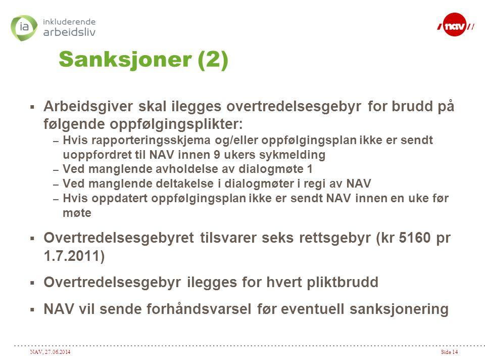 NAV, 27.06.2014Side 14 Sanksjoner (2)  Arbeidsgiver skal ilegges overtredelsesgebyr for brudd på følgende oppfølgingsplikter: – Hvis rapporteringsskj