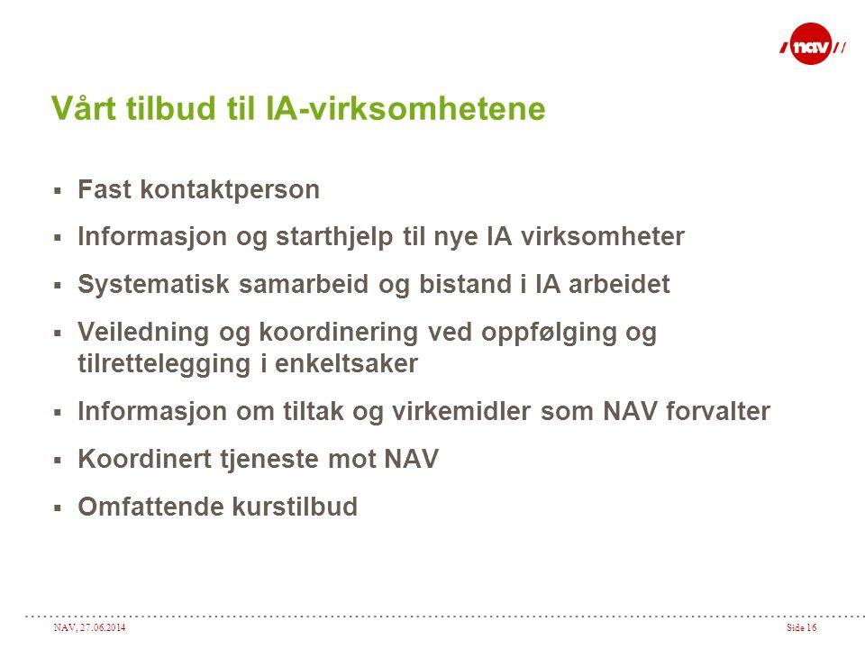 NAV, 27.06.2014Side 16 Vårt tilbud til IA-virksomhetene  Fast kontaktperson  Informasjon og starthjelp til nye IA virksomheter  Systematisk samarbe