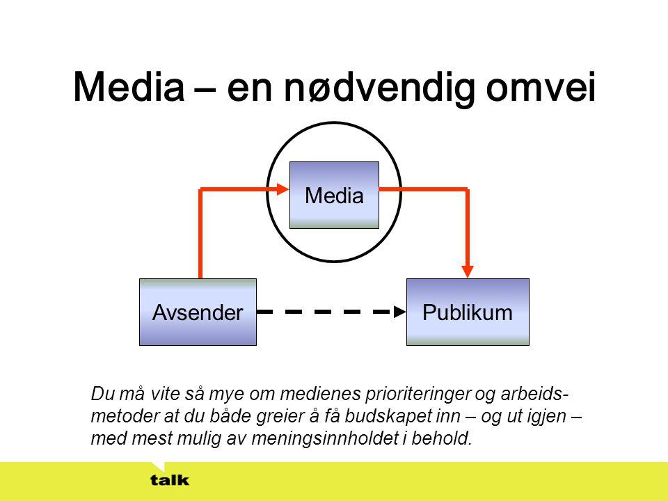 Media – en nødvendig omvei AvsenderPublikum Media Du må vite så mye om medienes prioriteringer og arbeids- metoder at du både greier å få budskapet in