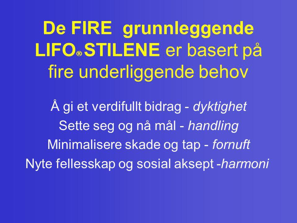 De FIRE grunnleggende LIFO  STILENE er basert på fire underliggende behov Å gi et verdifullt bidrag - dyktighet Sette seg og nå mål - handling Minima