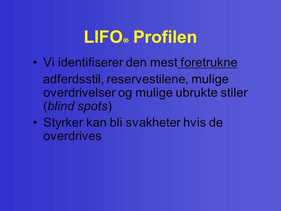 LIFO  Profilen •Vi identifiserer den mest foretrukne adferdsstil, reservestilene, mulige overdrivelser og mulige ubrukte stiler (blind spots) •Styrke