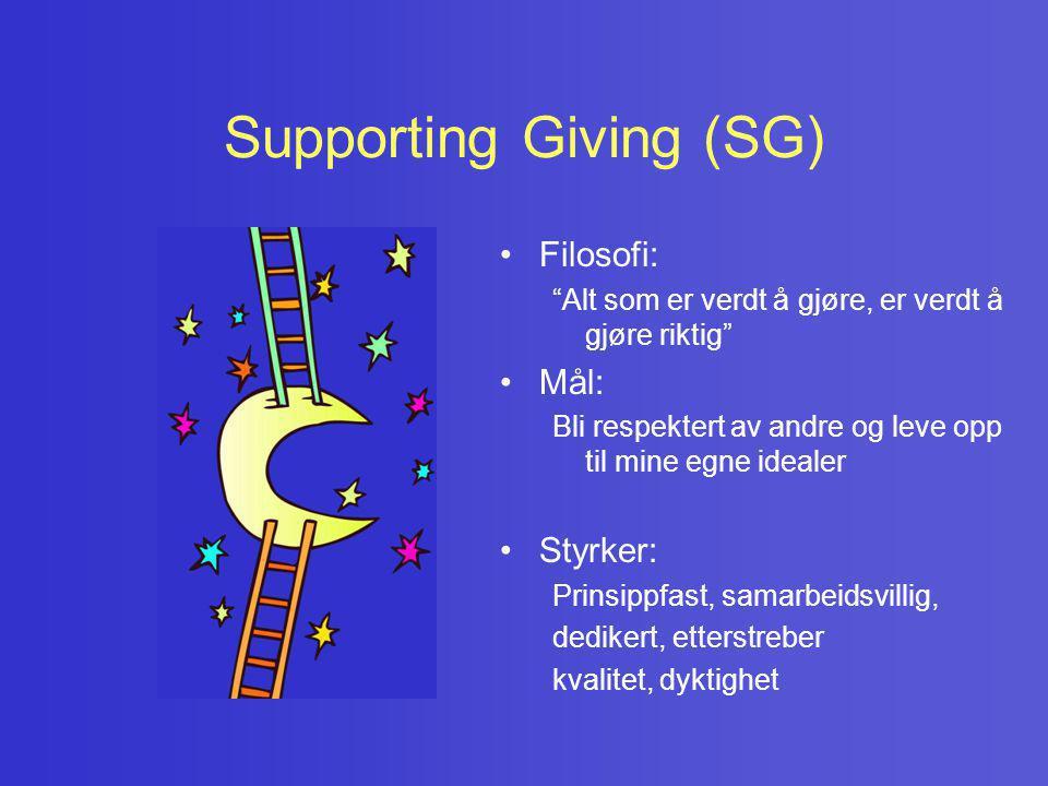 """Supporting Giving (SG) • Filosofi: """"Alt som er verdt å gjøre, er verdt å gjøre riktig"""" • Mål: Bli respektert av andre og leve opp til mine egne ideale"""