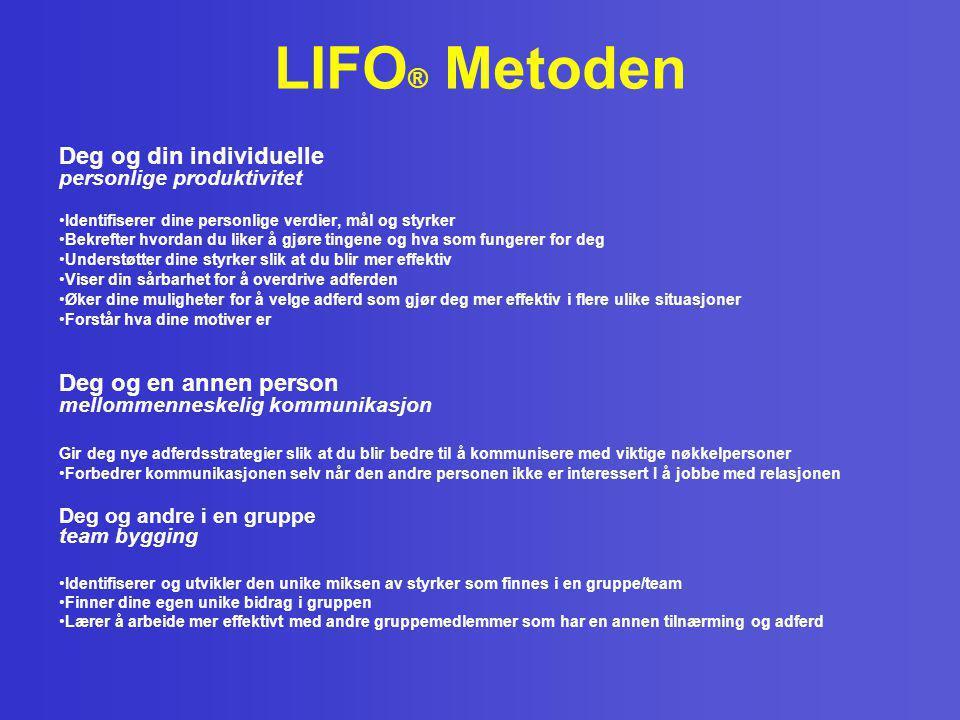 LIFO ® Metoden Deg og din individuelle personlige produktivitet •Identifiserer dine personlige verdier, mål og styrker •Bekrefter hvordan du liker å g