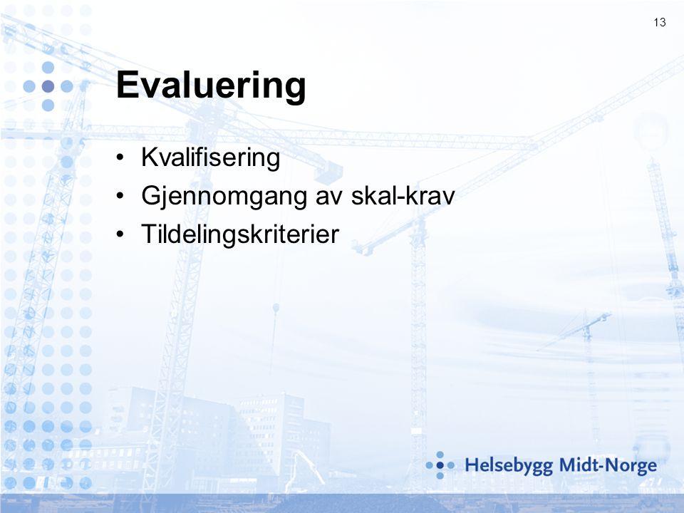 13 Evaluering •Kvalifisering •Gjennomgang av skal-krav •Tildelingskriterier