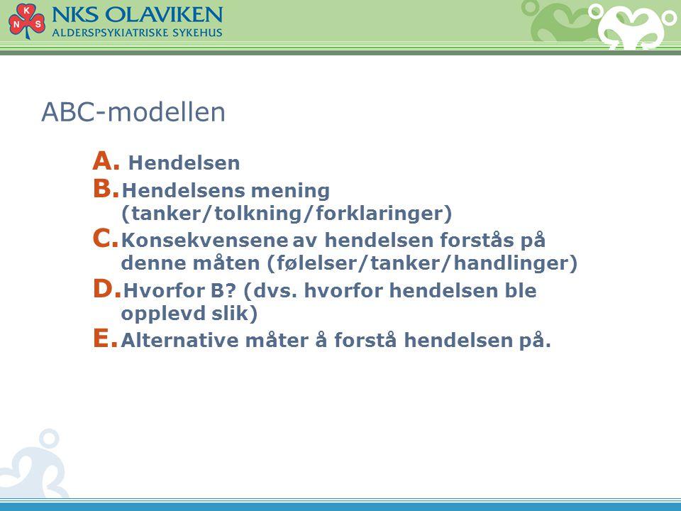 ABC-modellen A. Hendelsen B. Hendelsens mening (tanker/tolkning/forklaringer) C. Konsekvensene av hendelsen forstås på denne måten (følelser/tanker/ha