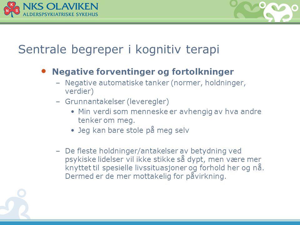 Sentrale begreper i kognitiv terapi • Negative forventinger og fortolkninger –Negative automatiske tanker (normer, holdninger, verdier) –Grunnantakels