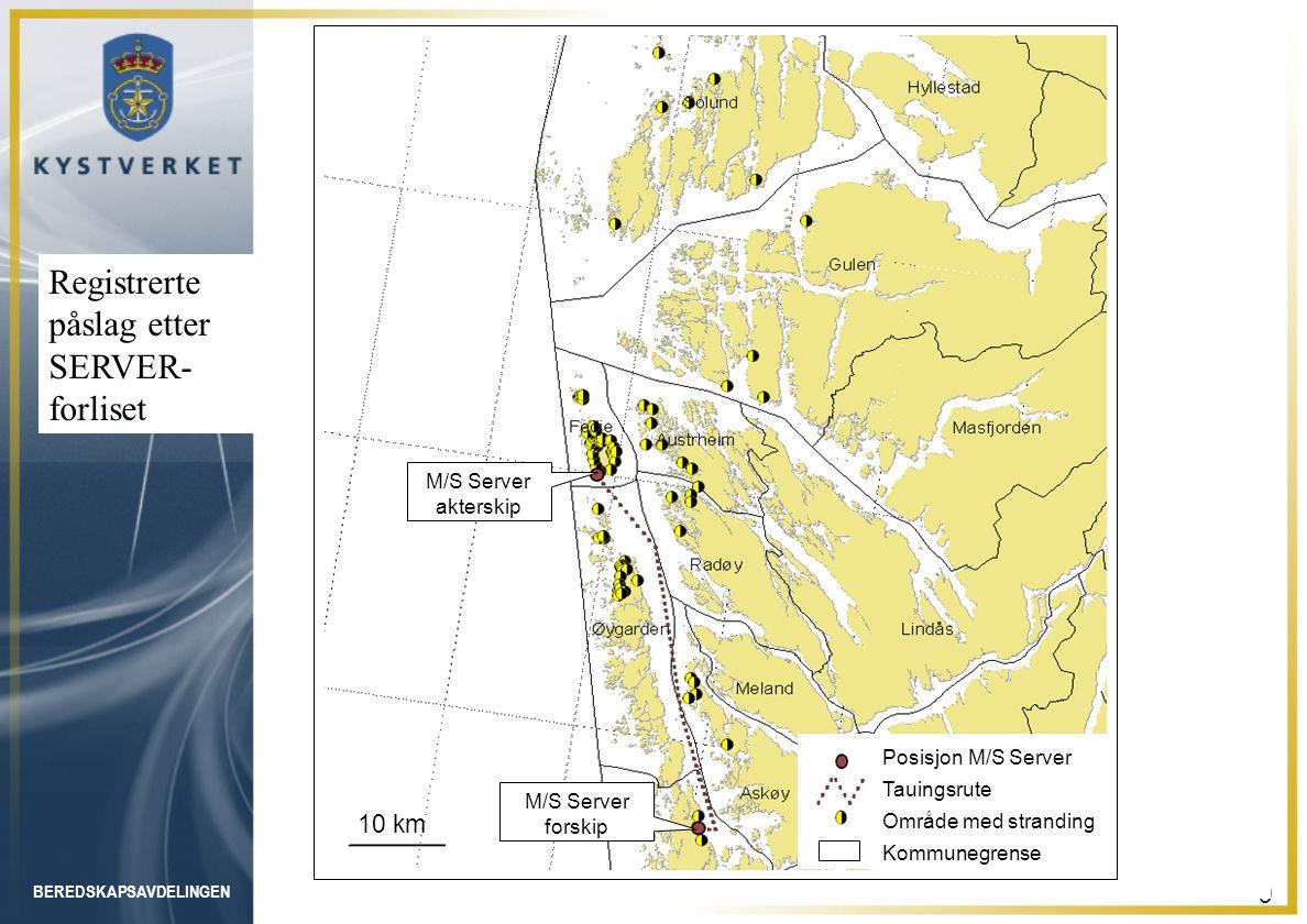 BEREDSKAPSAVDELINGEN 9 Posisjon M/S Server Tauingsrute Område med stranding Kommunegrense 10 km M/S Server forskip M/S Server akterskip Registrerte på