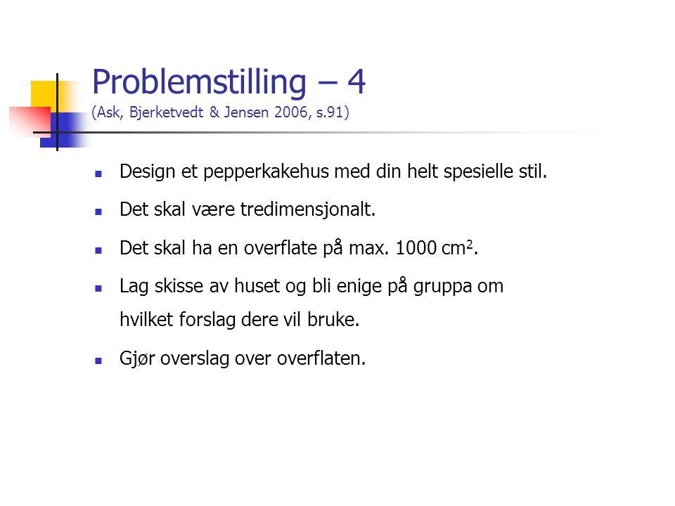 Problemstilling – 4 (Ask, Bjerketvedt & Jensen 2006, s.91)  Design et pepperkakehus med din helt spesielle stil.