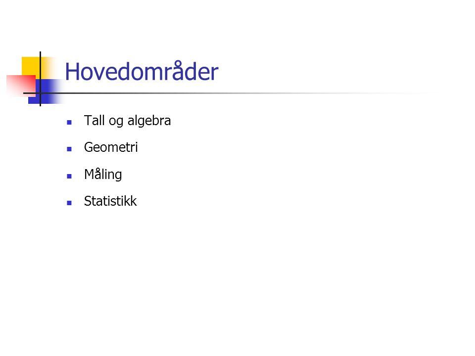 Hovedområder  Tall og algebra  Geometri  Måling  Statistikk