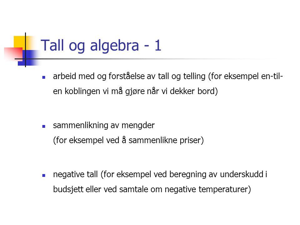 Tall og algebra - 1  arbeid med og forståelse av tall og telling (for eksempel en-til- en koblingen vi må gjøre når vi dekker bord)  sammenlikning av mengder (for eksempel ved å sammenlikne priser)  negative tall (for eksempel ved beregning av underskudd i budsjett eller ved samtale om negative temperaturer)