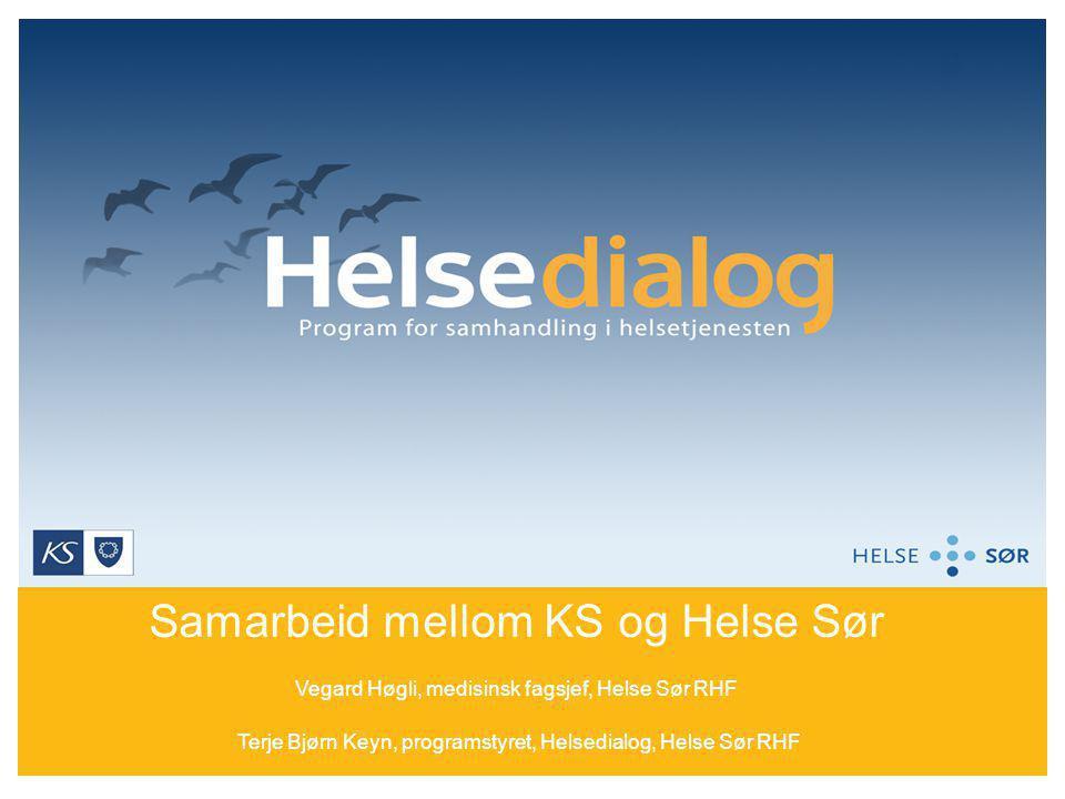 Samarbeid mellom KS og Helse Sør Vegard Høgli, medisinsk fagsjef, Helse Sør RHF Terje Bjørn Keyn, programstyret, Helsedialog, Helse Sør RHF