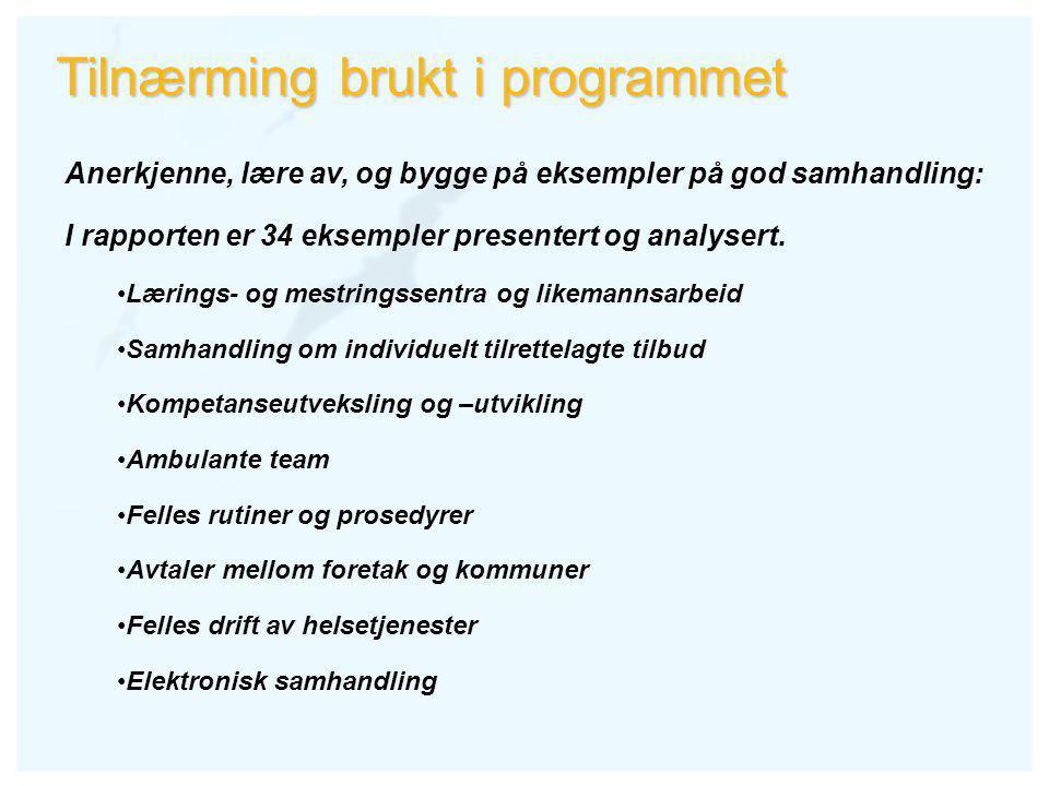 Tilnærming brukt i programmet Anerkjenne, lære av, og bygge på eksempler på god samhandling: I rapporten er 34 eksempler presentert og analysert.