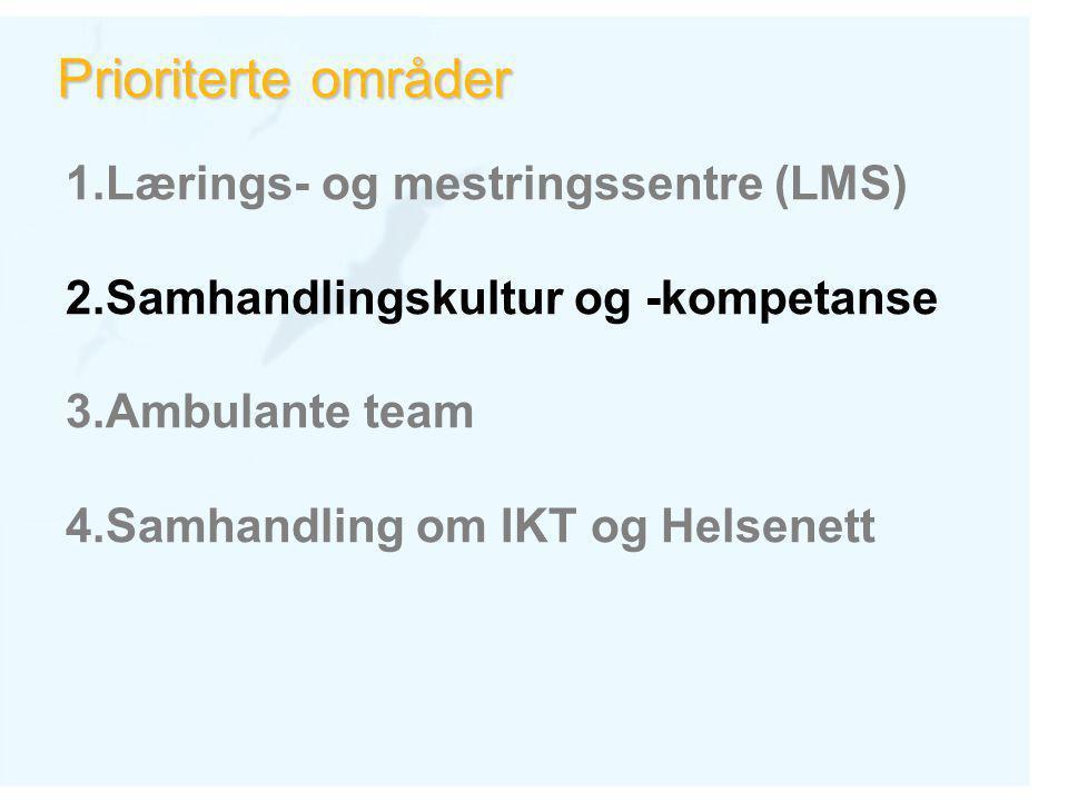 Prioriterte områder 1.Lærings- og mestringssentre (LMS) 2.Samhandlingskultur og -kompetanse 3.Ambulante team 4.Samhandling om IKT og Helsenett