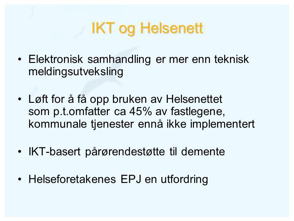 IKT og Helsenett •Elektronisk samhandling er mer enn teknisk meldingsutveksling •Løft for å få opp bruken av Helsenettet som p.t.omfatter ca 45% av fastlegene, kommunale tjenester ennå ikke implementert •IKT-basert pårørendestøtte til demente •Helseforetakenes EPJ en utfordring