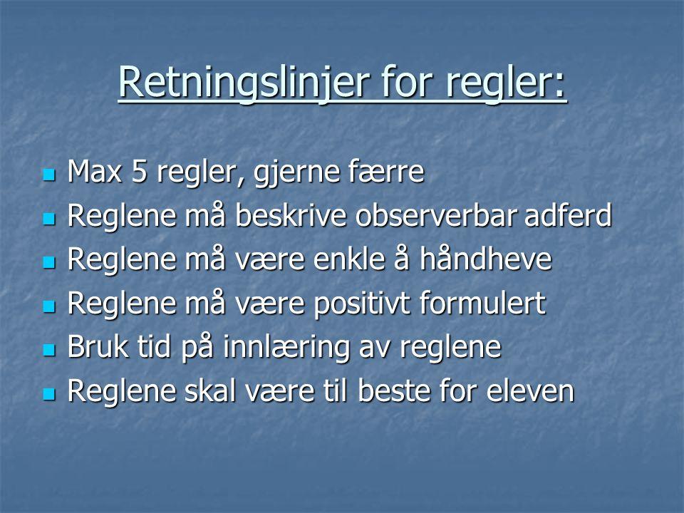 Retningslinjer for regler:  Max 5 regler, gjerne færre  Reglene må beskrive observerbar adferd  Reglene må være enkle å håndheve  Reglene må være