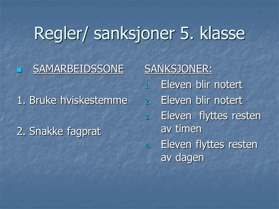 Regler/ sanksjoner 5. klasse  SAMARBEIDSSONE 1. Bruke hviskestemme 2. Snakke fagprat SANKSJONER: 1. Eleven blir notert 2. Eleven blir notert 3. Eleve