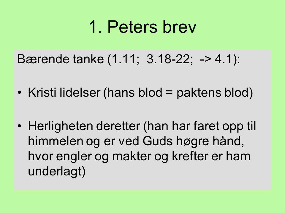 1. Peters brev Bærende tanke (1.11; 3.18-22; -> 4.1): •Kristi lidelser (hans blod = paktens blod) •Herligheten deretter (han har faret opp til himmele