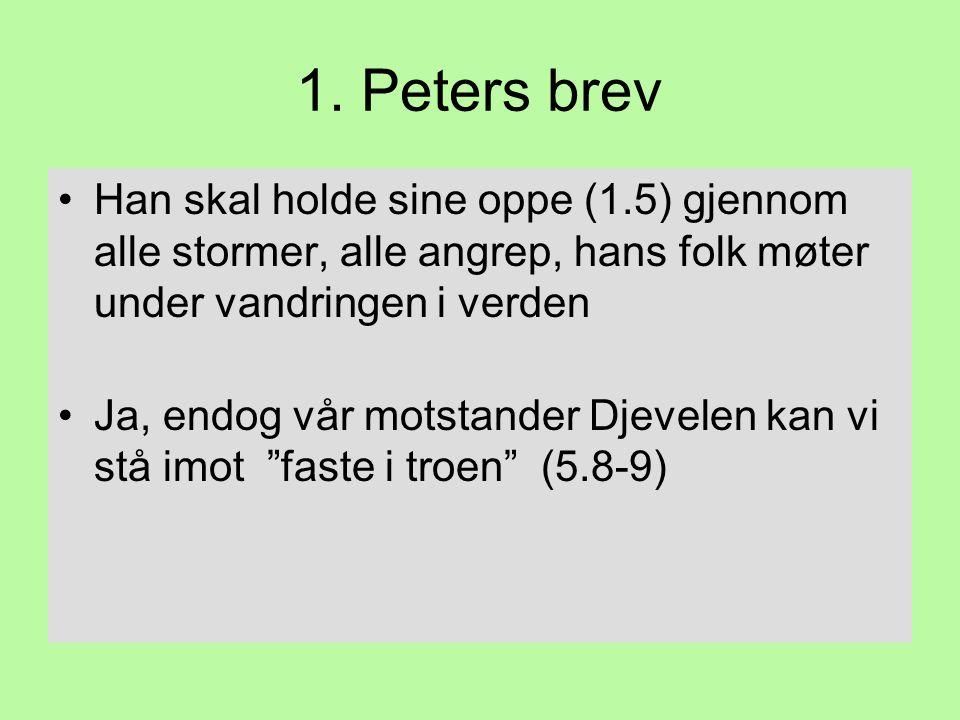 1. Peters brev •Han skal holde sine oppe (1.5) gjennom alle stormer, alle angrep, hans folk møter under vandringen i verden •Ja, endog vår motstander