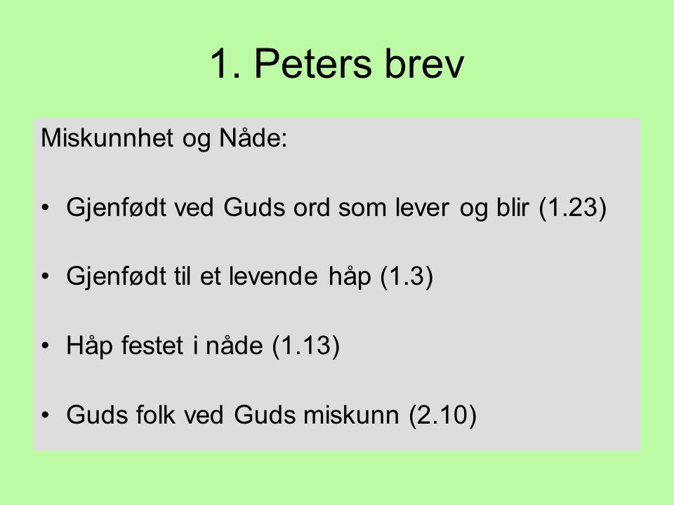 1. Peters brev Miskunnhet og Nåde: •Gjenfødt ved Guds ord som lever og blir (1.23) •Gjenfødt til et levende håp (1.3) •Håp festet i nåde (1.13) •Guds