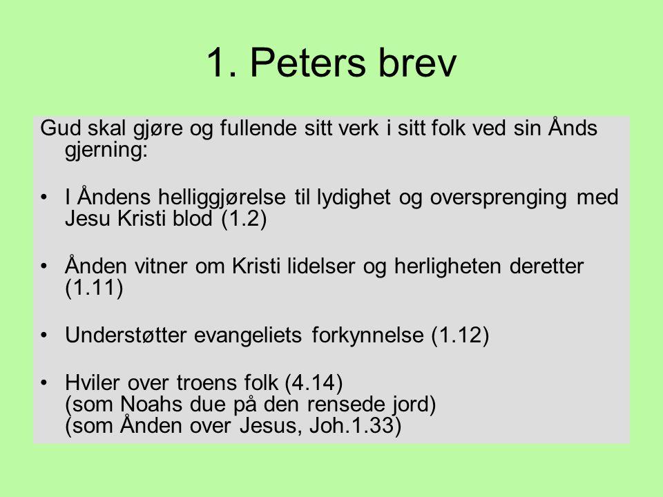 1. Peters brev Gud skal gjøre og fullende sitt verk i sitt folk ved sin Ånds gjerning: •I Åndens helliggjørelse til lydighet og oversprenging med Jesu