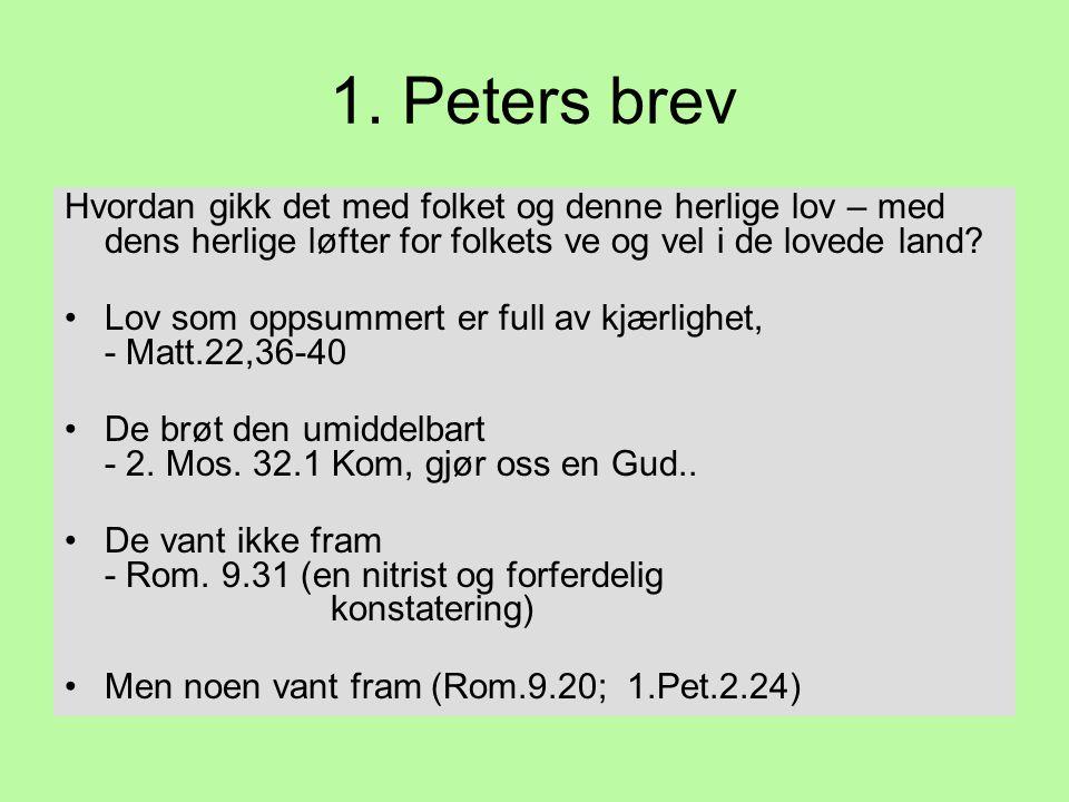 1. Peters brev Hvordan gikk det med folket og denne herlige lov – med dens herlige løfter for folkets ve og vel i de lovede land? •Lov som oppsummert