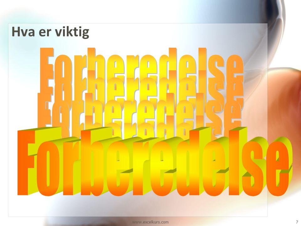www.excelkurs.com7 Hva er viktig