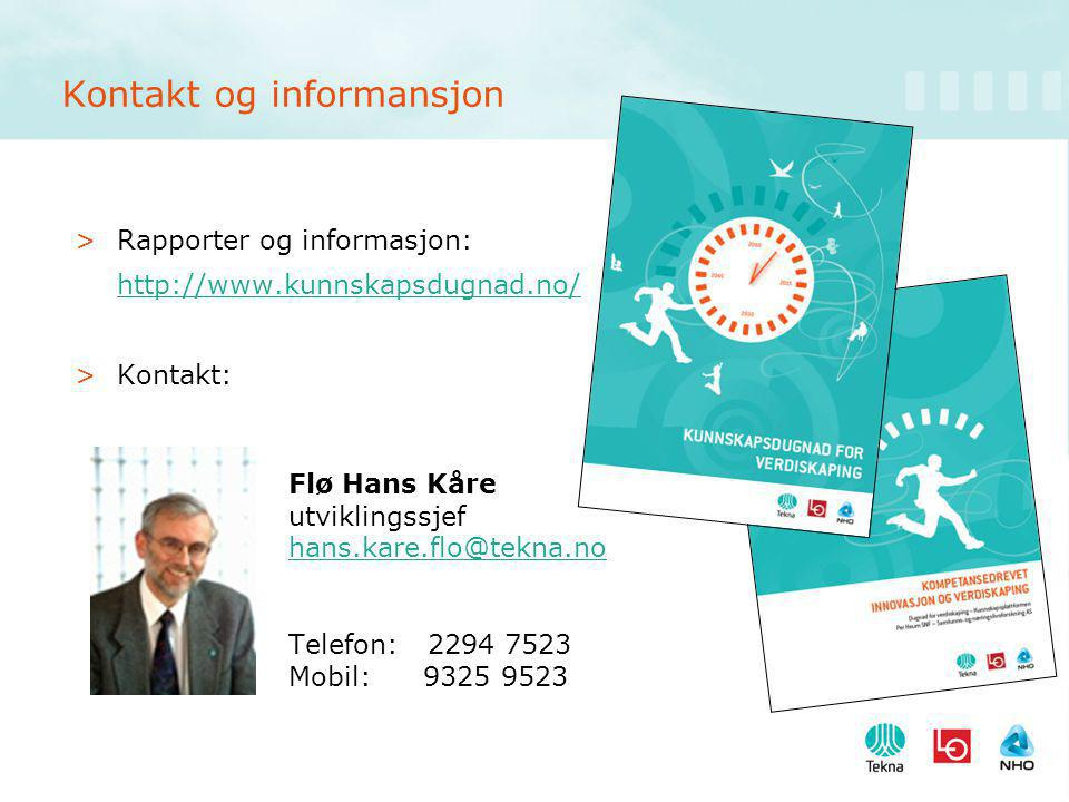 Kontakt og informansjon >Rapporter og informasjon: http://www.kunnskapsdugnad.no/ >Kontakt: Flø Hans Kåre utviklingssjef hans.kare.flo@tekna.no Telefon: 2294 7523 Mobil: 9325 9523 hans.kare.flo@tekna.no