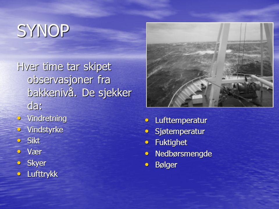 SYNOP Hver time tar skipet observasjoner fra bakkenivå.
