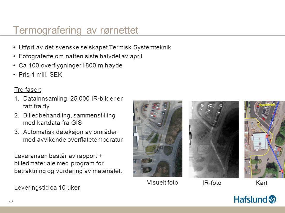 s.3 Termografering av rørnettet •Utført av det svenske selskapet Termisk Systemteknik •Fotograferte om natten siste halvdel av april •Ca 100 overflygn