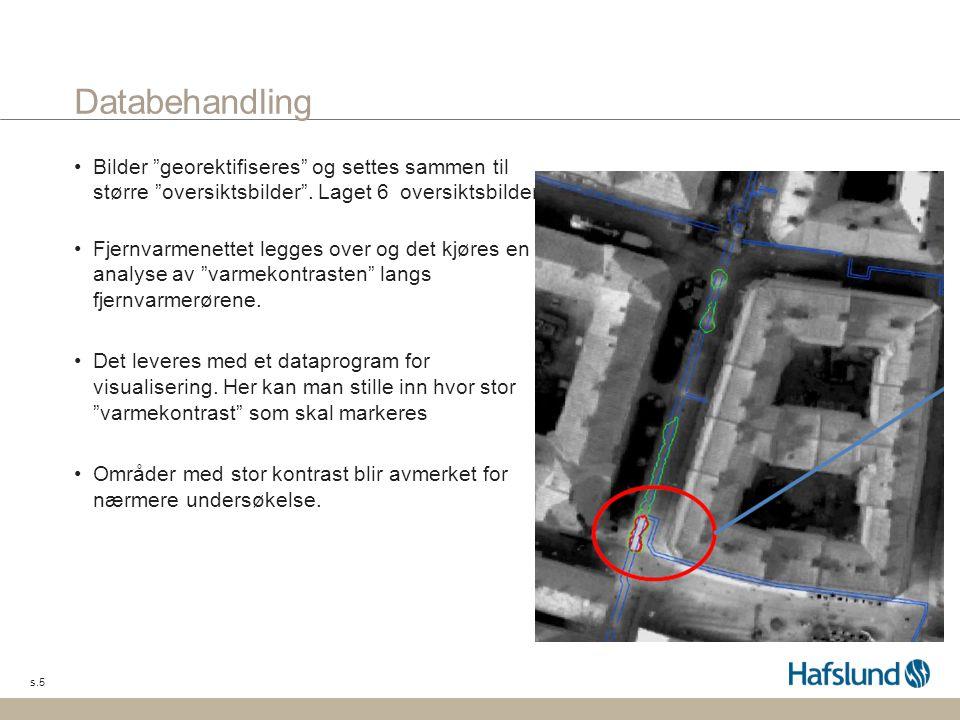 """s.5 Databehandling •Bilder """"georektifiseres"""" og settes sammen til større """"oversiktsbilder"""". Laget 6 oversiktsbilder. •Fjernvarmenettet legges over og"""