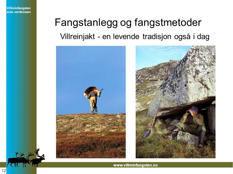 Villreinfangsten som verdensarv www.villreinfangsten.no Fangstanlegg og fangstmetoder Villreinjakt - en levende tradisjon også i dag 12
