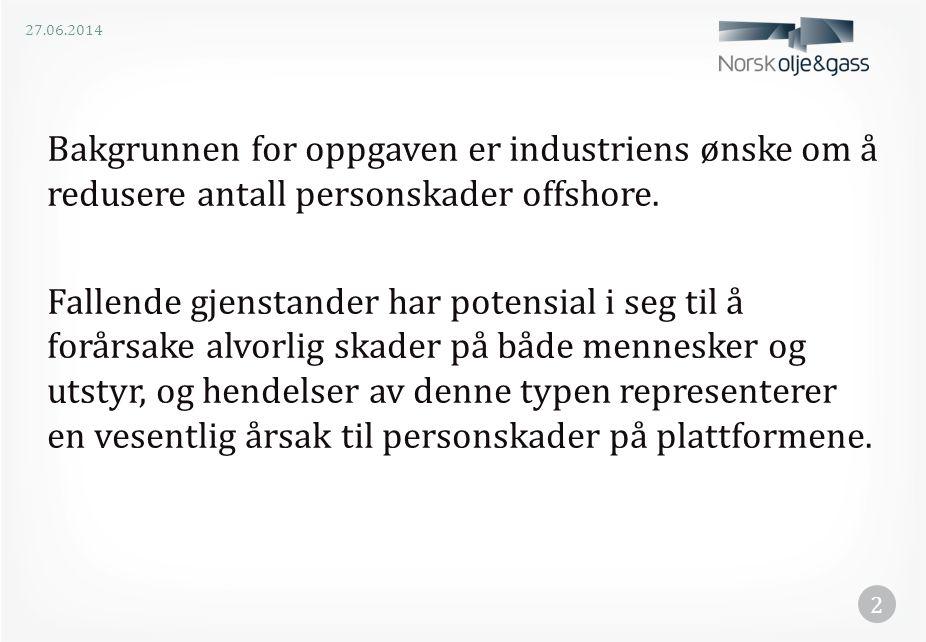 Bakgrunnen for oppgaven er industriens ønske om å redusere antall personskader offshore. Fallende gjenstander har potensial i seg til å forårsake alvo