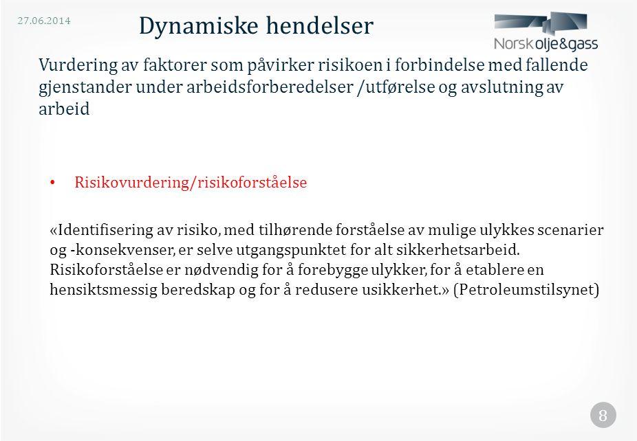 27.06.2014 8 Vurdering av faktorer som påvirker risikoen i forbindelse med fallende gjenstander under arbeidsforberedelser /utførelse og avslutning av