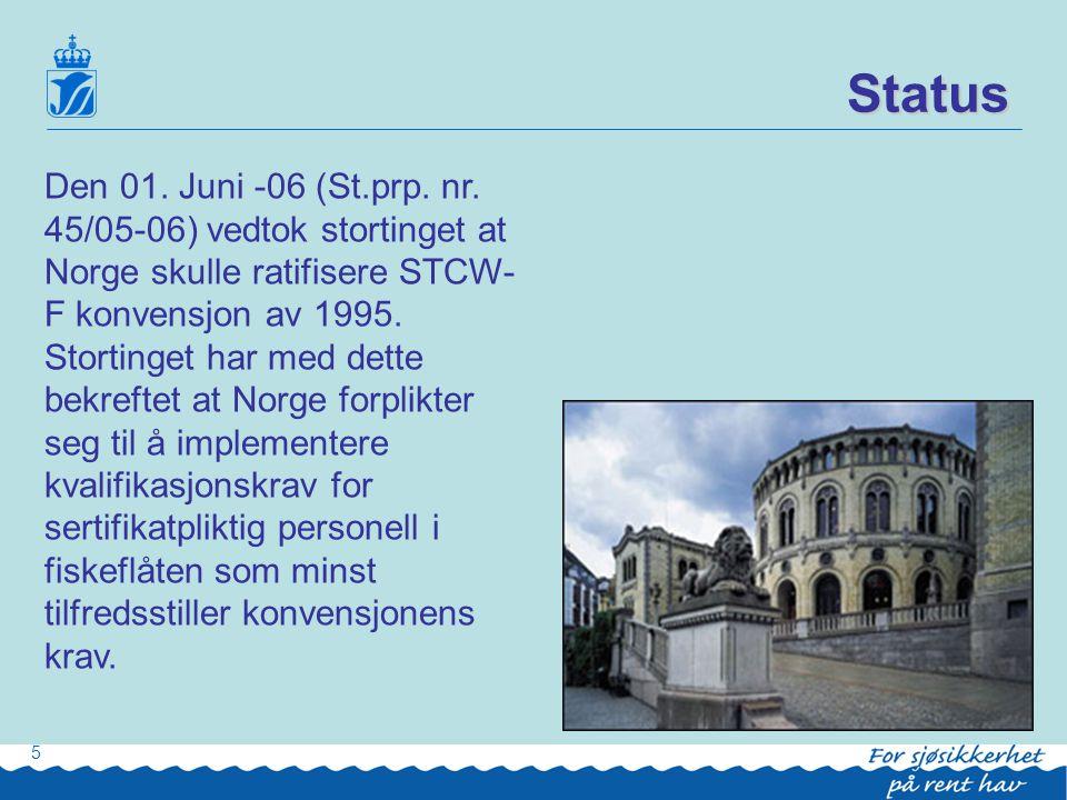 Status fortsetter: •8 land har pr.dato ratifisert STCW-F.